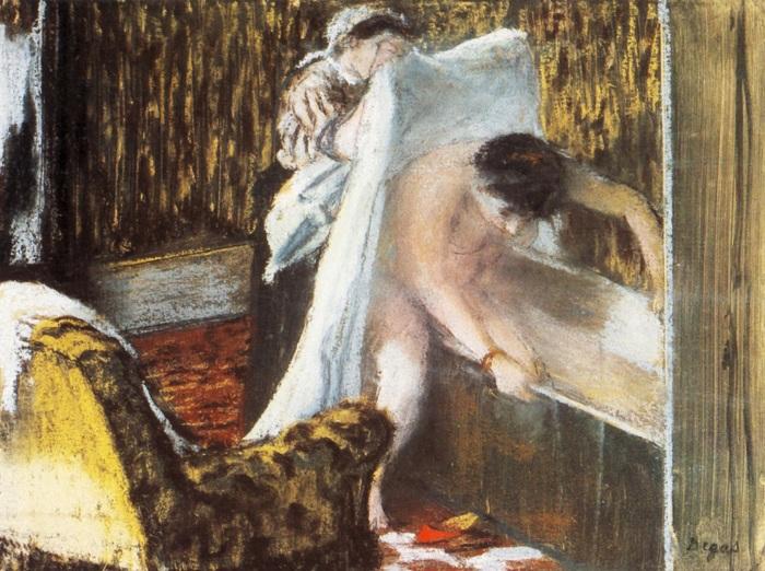Женщина выходит из ванной. Эдгар Дега, 1877год.