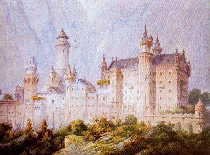 Проектный рисунок замка Нойшванштайн, 1869 год. | Фото: commons.wikimedia.org.