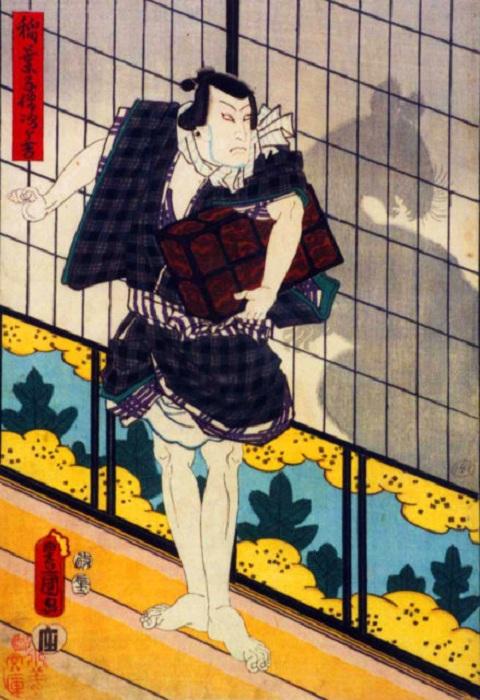 Рисунок, изображающий актёра театра кабуки Исикава Коданзи в роли Кодзо в 1857 году. | Фото: thevintagenews.com.