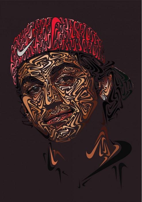 Портрет из логотипа Nike скейтбордиста Пола Родригеса (Paul Rodriguez).