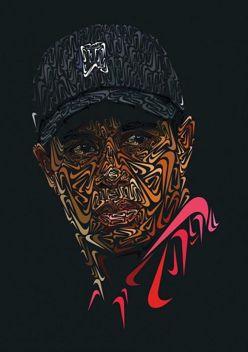Креативное изображение Тайгера Вудса (Tiger Woods) - известного гольфиста.