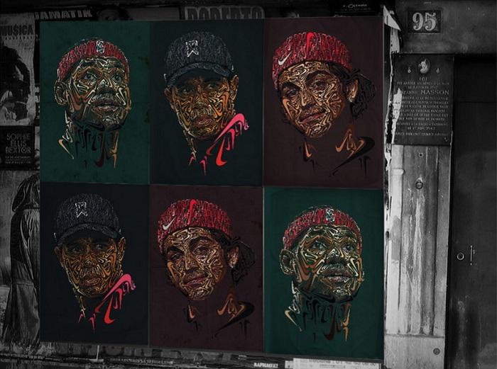 Портреты из галочек Nike.