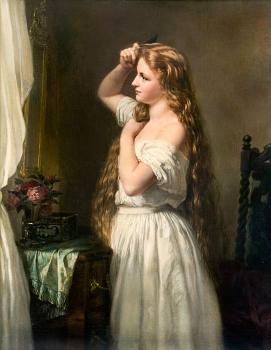 Jeune fille a sa toilette. Oskar Begas, 1863.| Фото: colors.life.