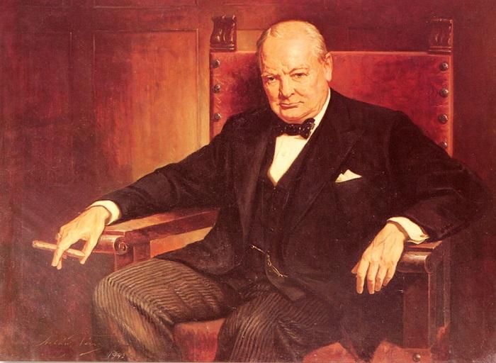 Уинстон Черчилль - премьер-министр Великобритании, политический деятель.   Фото: classicartpaintings.com.