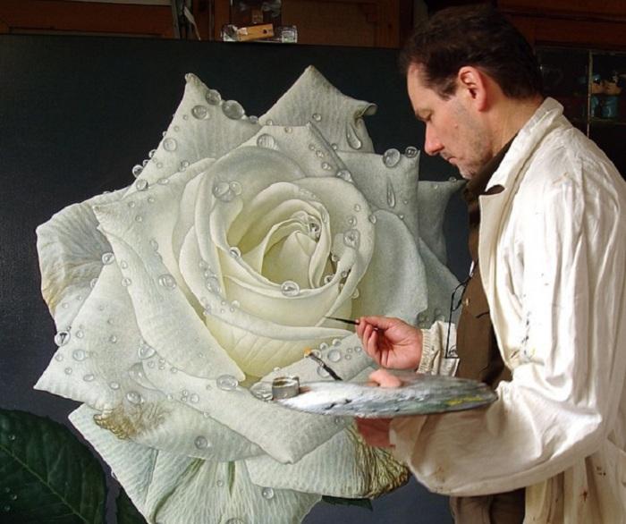 Гиперреалистичное изображение розы.