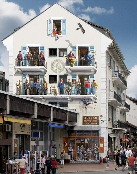 Гиперреалистичные сюжеты на стенах зданий. | Фото: ufunk.net.