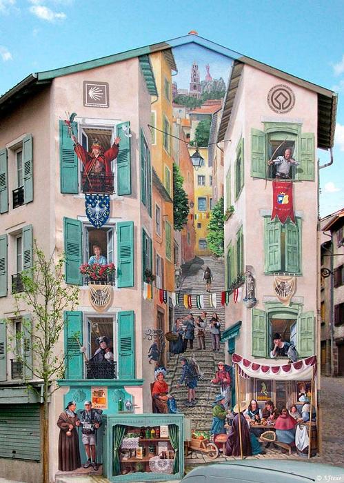 Роспись на стене дома, идеально вписавшаяся в общую картину. | Фото: ufunk.net.
