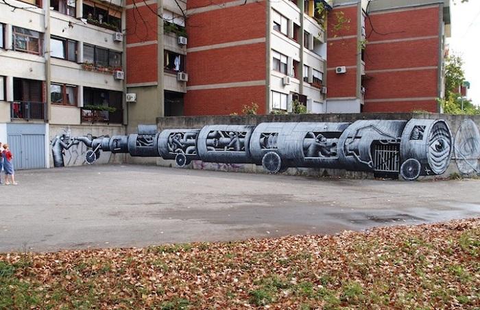 Отображение сюрреализм в уличном искусстве.