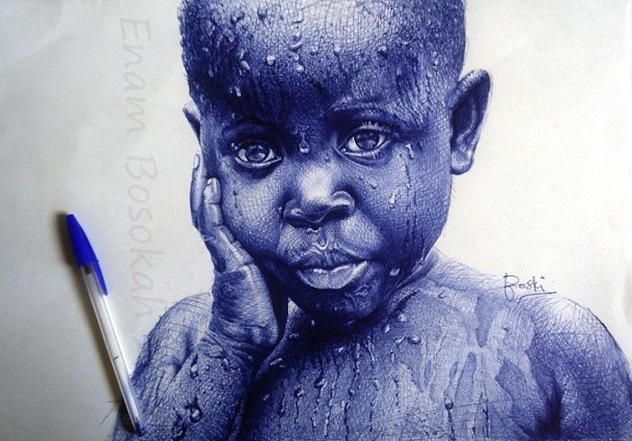 Рисунок шариковой ручкой, напоминающий фотографию.