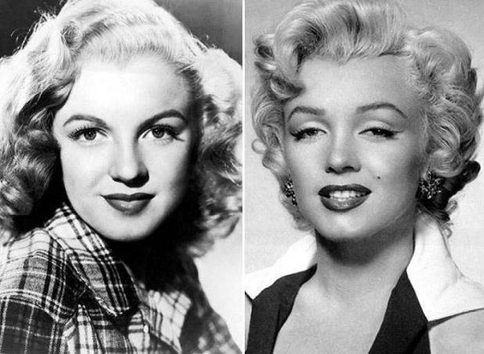 Мэрилин Монро. Снимки до и после хирургического вмешательства.   Фото: allday.com.