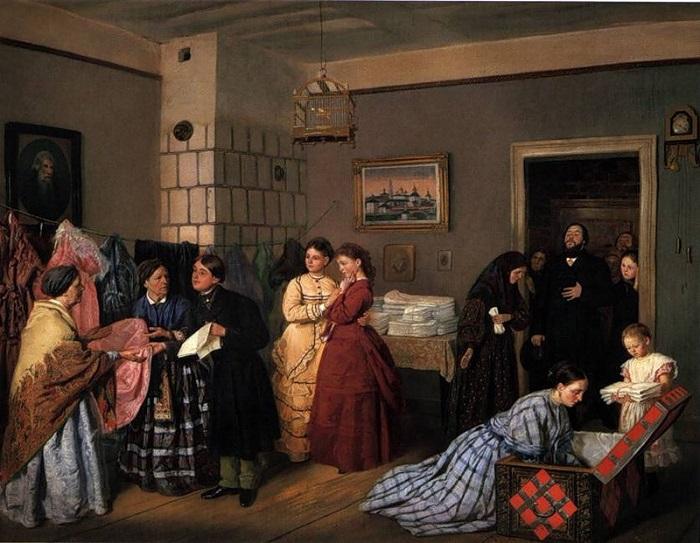 Прием приданого по росписи. В. В. Пукирев, 1873 год.   Фото: stihi.ru.