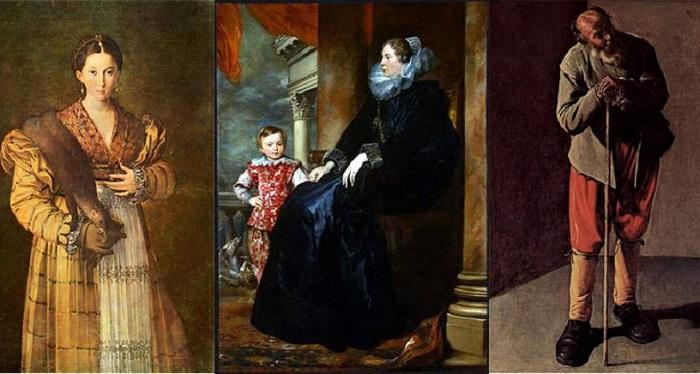 Слева направо: Антея. Пармиджанино, ок. 1537; Леди Дженовезе. Антонис Ван Дейк, 1626; Крестьянин. Жорж де Ла Тур. | Фото: rgo-sib.ru.