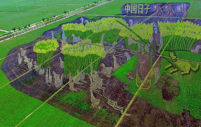 3D-изображение, выполненное из разных сортов риса.