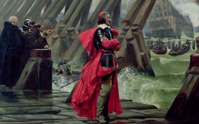 Ришелье на плотине под Ля Рошелью. Анри-Поль Мотт, 1881 год. | Фото: ahum.club.
