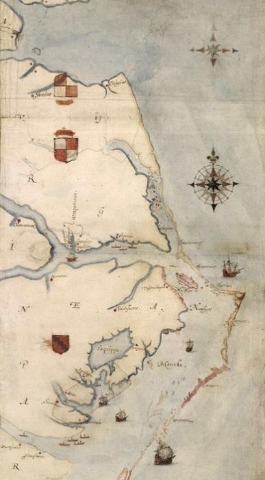Английская карта восточного побережья Северной Америки, составленная в 1585 году Джоном Уайтом. Остров Роанок отмечен розовым цветом. | Фото: ru.wikipedia.org.