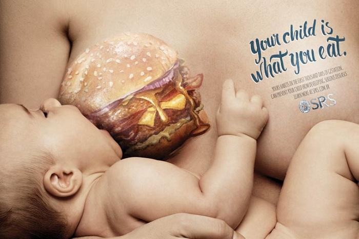 «Ваш ребенок то, что Вы едите»: мощная социальная кампания против детского ожирения.