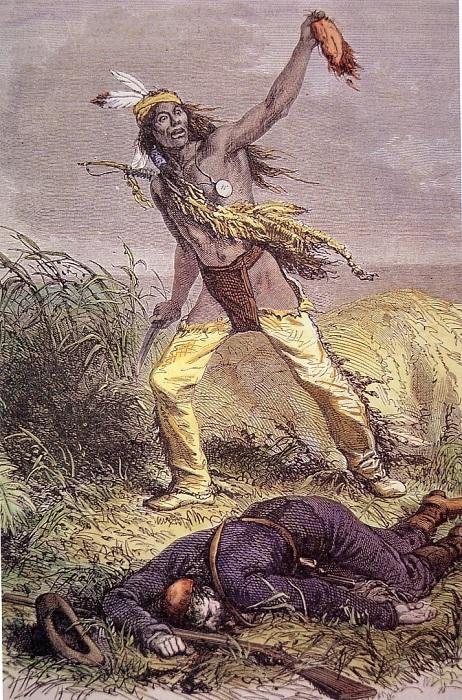 Стальные ножи, завезенные европейцами, способствовали популяризации снятия скальпа. | Фото: images.wikia.com.