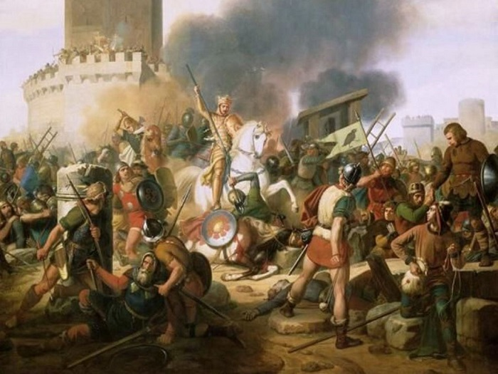Граф Эд Парижский обороняет город от норманнов. | Фото: cs618330.vk.me.