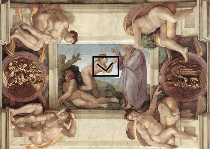Руки Евы напоминают символ женского начала в греко-римском искусстве - перевернутый треугольник.   Фото: static.life.ru.