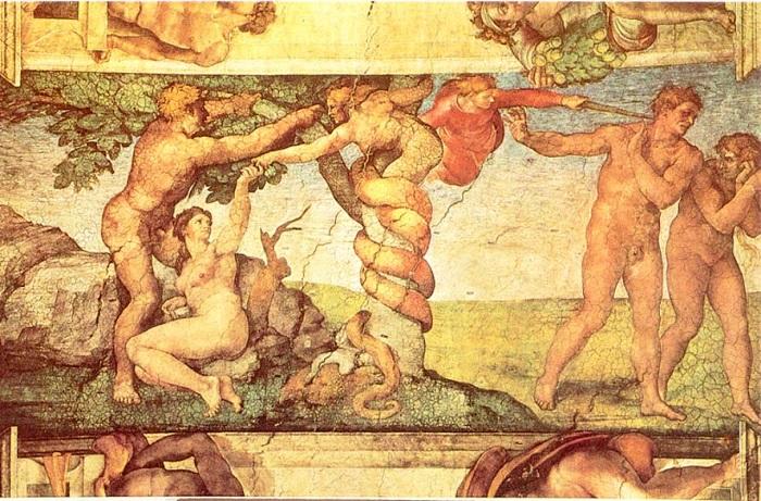 Сцена грехопадения и изгнания из Рая Адама и Евы.   Фото: cultcalend.ru.