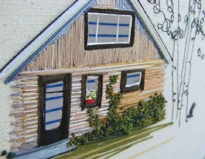 Серия вышитых картинок «Dwellings» («Жилища»).