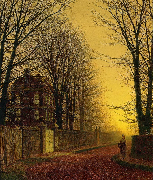 Осеннее золото. Д. Э. Гримшоу, 1880 год. | Фото: fiveminutehistory.com.