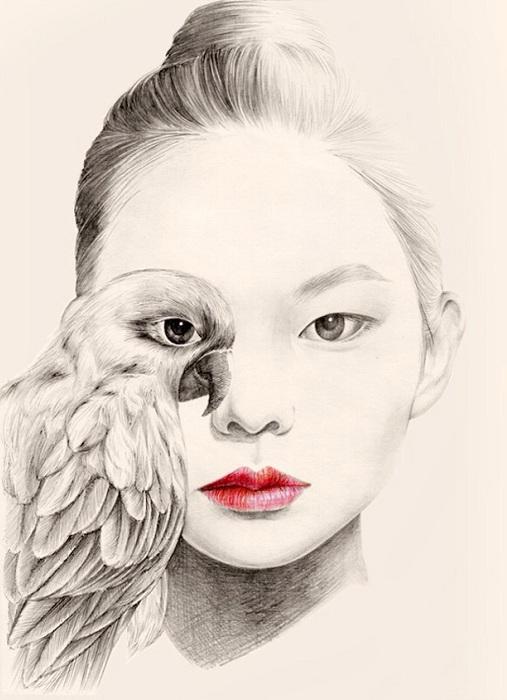 «Слияние» девушки и птицы в один образ.