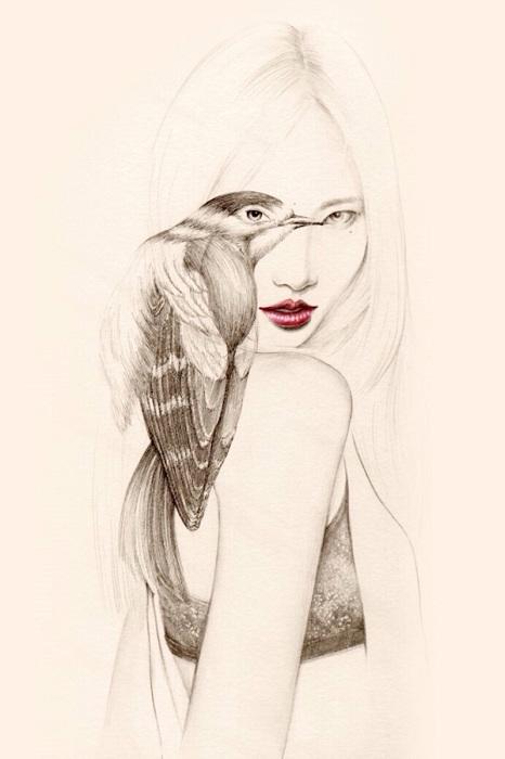 Нежный девичий образ от художницы okArt.