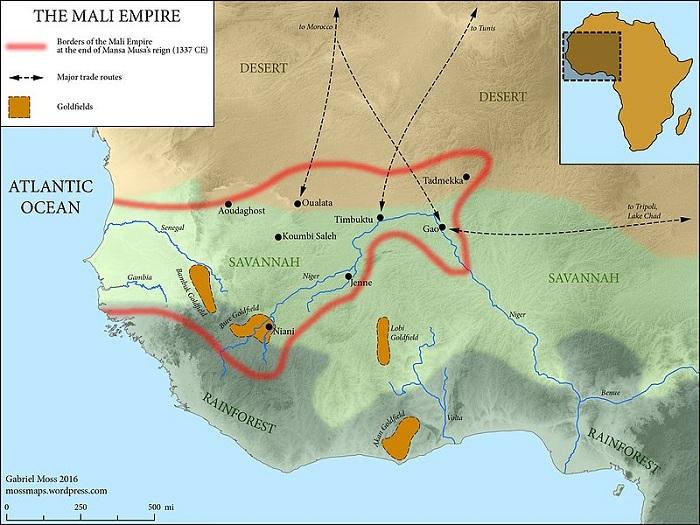 Территория правления манса Муса в XIV веке. | Фото: commons.wikimedia.org.