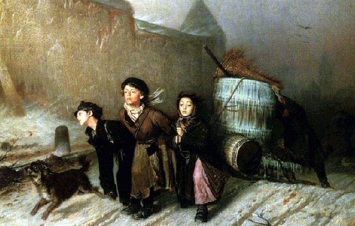 Тройка (Ученики мастеровые везут воду). В. Перов, 1866 год. | Фото: 900igr.net.
