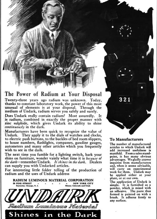 Реклама часов со светящимися радиоактивными циферблатами.