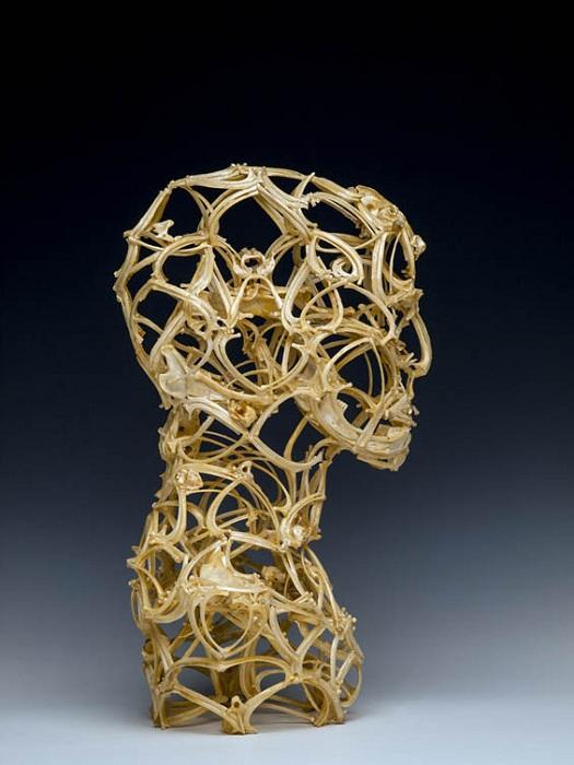 Человеческий бюст, сделанный из костей.