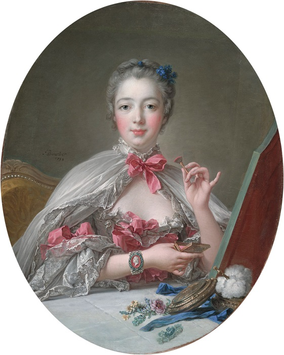 Мадам де Помпадур наносит румяна перед зеркалом. Ф. Буше, 1758 год. | Фото: fiveminutehistory.com.