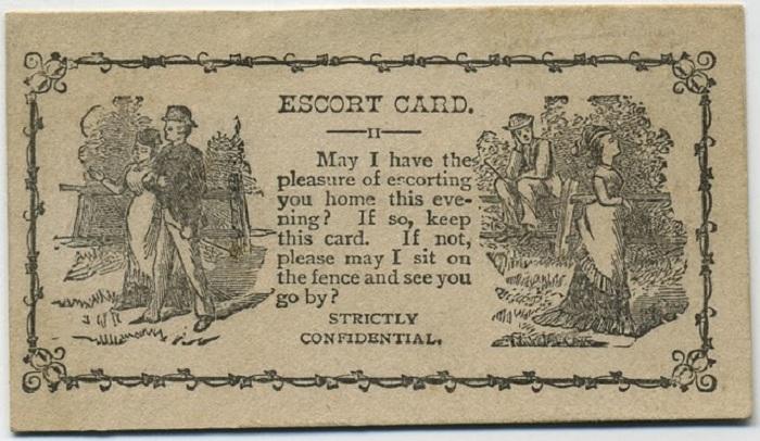 Могу ли я иметь удовольствие проводить Вас домой этим вечером? Если да, то держите эту карточку. Если нет, позвольте присесть и проводить Вас взглядом.