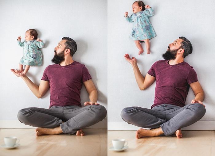Отец «подбрасывает» дочку в воздух.