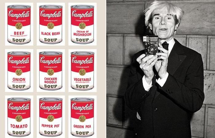 Энди Уорхол и картина с этикетками супа Campbell.