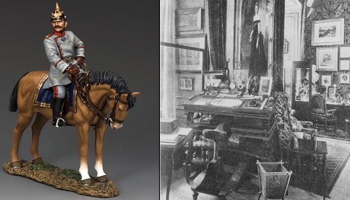 Слева: Фигурка Вильгельма II, справа: рабочий кабинет кайзера с седлом вместо стула.