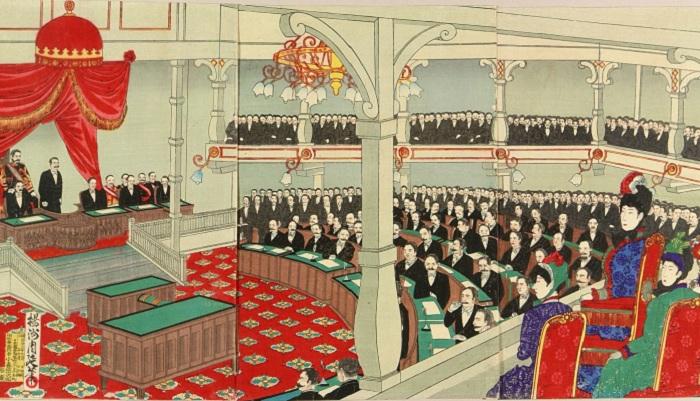 Заседание японского парламента в 1890 году. | Фото: ru.wikipedia.org.