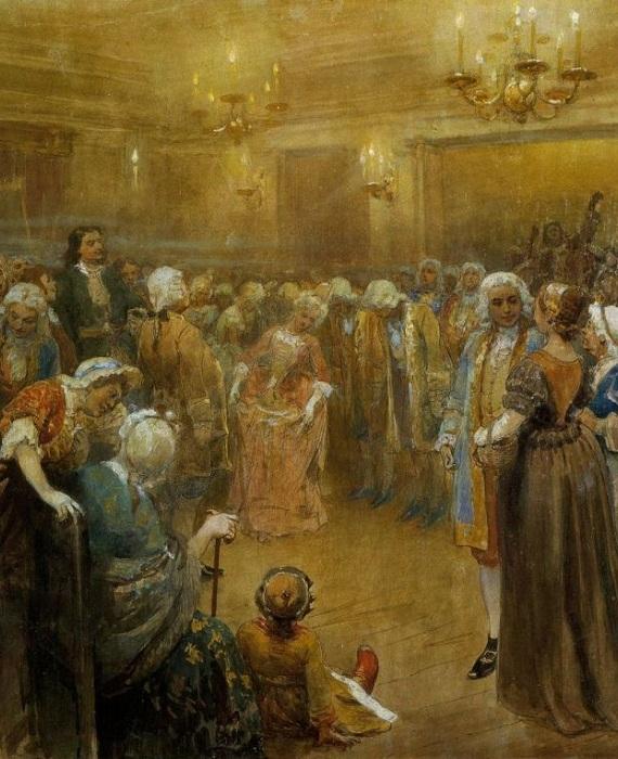 Ассамблея при Петре I, К. Лебедев. | Фото: cs630521.vk.me.