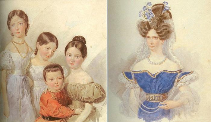 Слева: Портрет детей Ф. Ф. Шуберта (1835) , справа: Императрица Александра Федоровна (1830-е). | Фото: liveinternet.ru.
