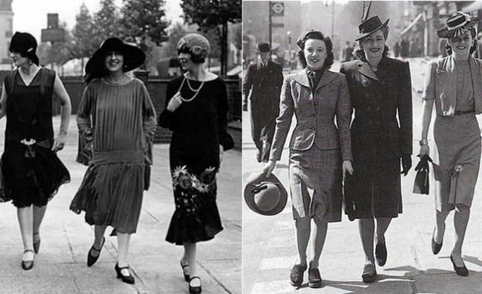 Платья, популярные в первой половине 20 века.