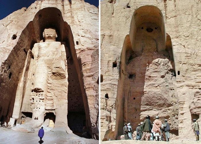 Статуя Будды в Бамианской долине и то, что от нее осталось после взрыва противотанковых мин. | Фото: a.d-cd.net.