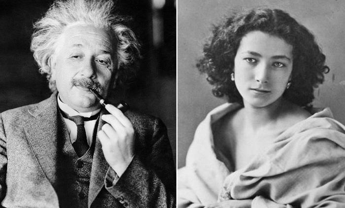 Слева: Альберт Эйнштейн, справа: Сара Бернар.