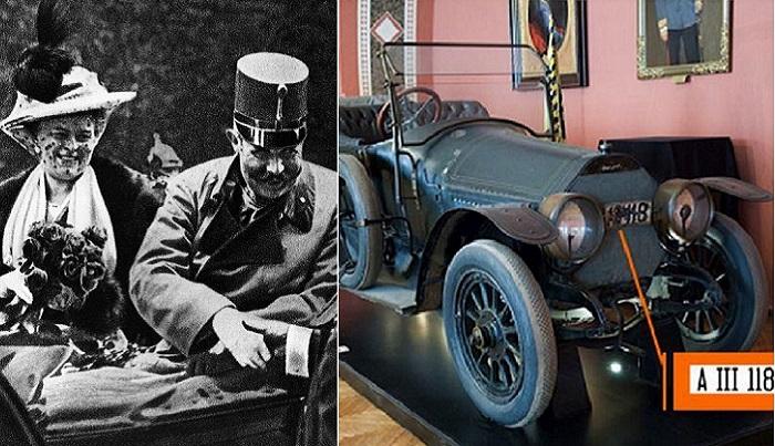 Австрийский эрцгерцог Франц Фердинанд и автомобиль, в котором он находился в трагический день.