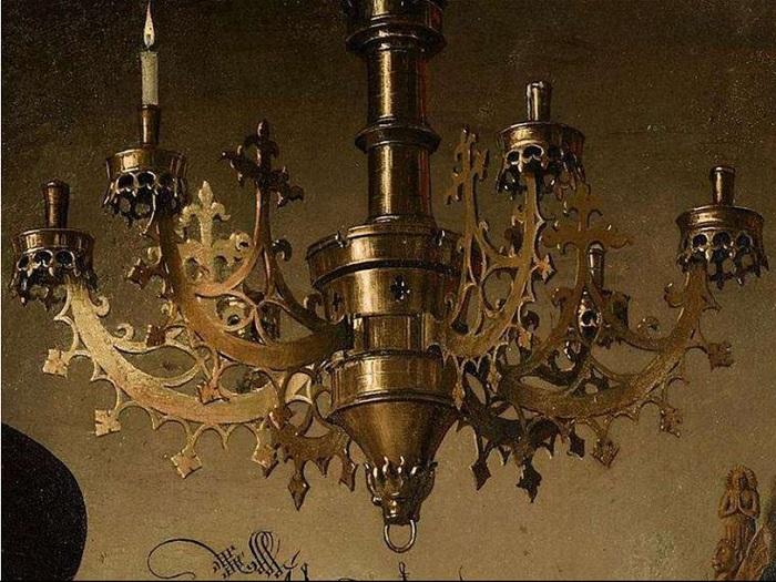Портрет четы Арнольфини. Фрагмент: подсвечник. Ян ван Эйк, 1434 год. | Фото: cf.ppt-online.org.