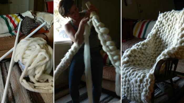 Процесс создания одеяла из толстых ниток.