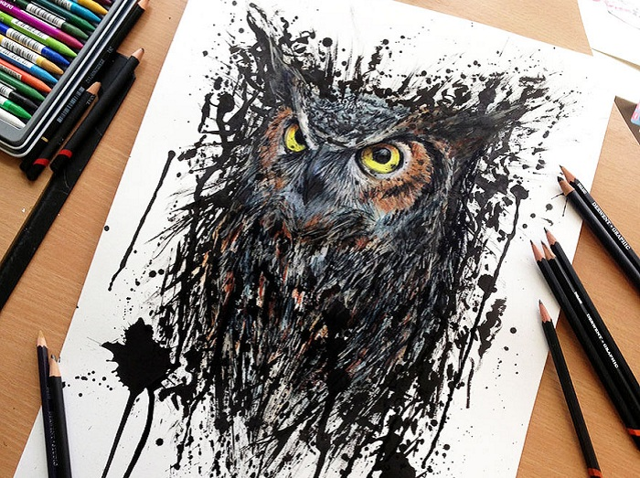 Экспрессивные рисунки, созданные при помощи обычных ... Цветной Рисунок Карандашами