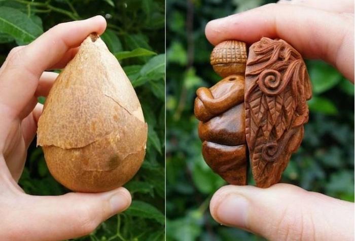 Косточка авокадо -<br> отличный материал для изготовления фигурок. | Фото: mymodernmet.com.