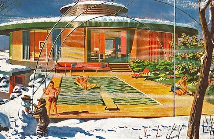 Купол с тропическим климатом во время снежной зимы.