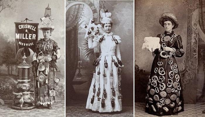 Женщины, которые рекламировали товар, разгуливая в необычных платьях.